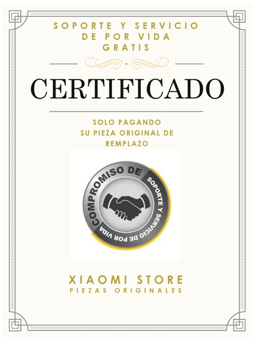 Certificado Xiaomi Amigo
